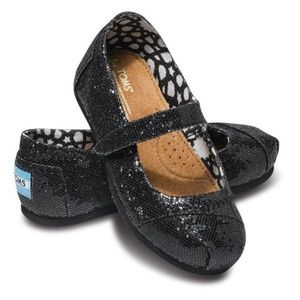 NWOT Toms toddler girl glitter maryjane shoes